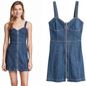 H&M Denim ZIP Up Mini Dress